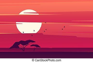Vivid sunset over the african savanna. Vector illustration