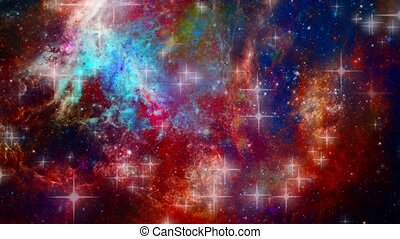 Stars and nebulae in deep space animation - Vivid Universe. ...