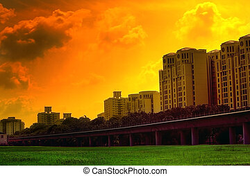 Vivid urban sunset scene