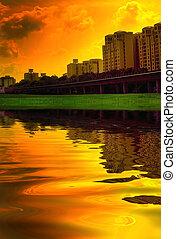 Vivid urban sunset scene