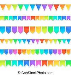 vivido, colori, arcobaleno, bandiere, garlands, set,...