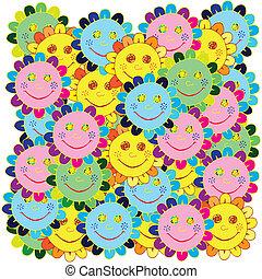 vivido, fondo, con, fiori