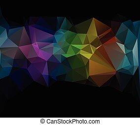 vivido, nero, colorare, polygonal, mosaico, fondo, vettore, illustrazione, creativo, affari, disegnare sagome