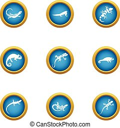 Viviparous lizard icons set, flat style - Viviparous lizard...