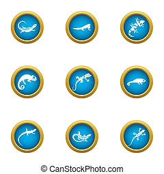 Viviparous lizard icons set, flat style - Viviparous lizard ...