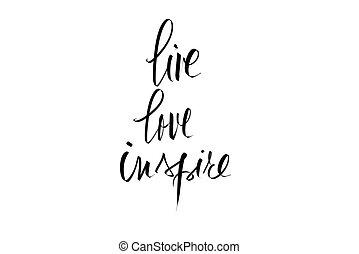 vivo, amor, inspirar, de motivación, mensaje