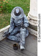 vivo, escultura, de, boiadeiro, sentando, perguntar, para,...
