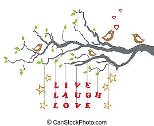 vivo, risa, amor, en, un, rama de árbol