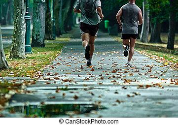 vivo, un, sano, vida, corra, cada día, con, su, amigos