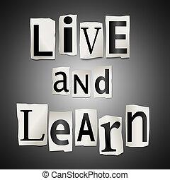 vivo, y, aprender, concept.