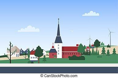 vizinhança, edifícios, privado, village., torre, style., paisagem, cidade, residencial, apartamento, hills., parque, ilustração, casas, horizontais, caricatura, cidade, turbinas, vetorial, pequeno, ou, vento