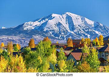 vizinhança residencial, em, colorado, em, outono