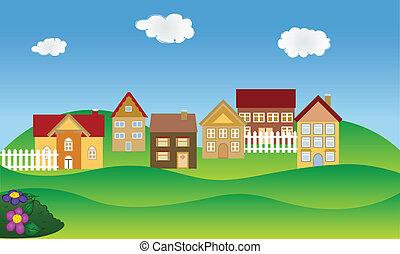 vizinhança residencial, em, primavera
