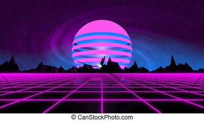VJ 80's Synthwave Horizon - Retro futuristic 80's synthwave...