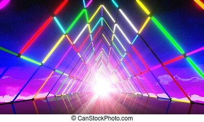 VJ 80's Triangle Neon Tunnel - Retro futuristic 80's...