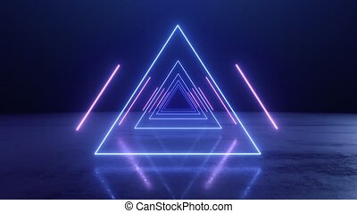 VJ abstract Neon triangle tunnel 4k