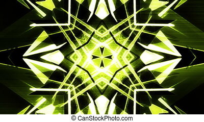 VJ geometric digital green abstraction with feedback lines and glitch loop