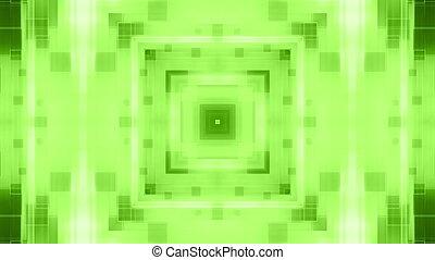 vj, cg, faire boucle, arrière-plan vert, géométrique, animé, résumé
