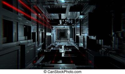 VJ Futuristic Dark Tunnel - 4K inside futuristic hi-tech...
