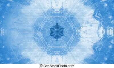 VJ geometric tunnel white and soft blue looping animated abstract background