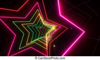 VJ Loop Glowing Disco Tunnel - Colorful seamlessly looping...