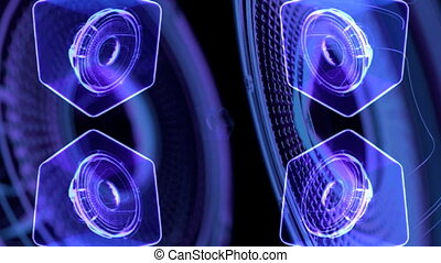 vj musical motion footage - neon speakers. 3D render