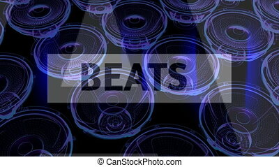 vj musical motion footage - neon speakers and signs. 3D render