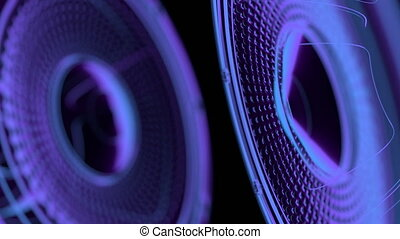 vj musical seamless loop - neon speakers. 3D render
