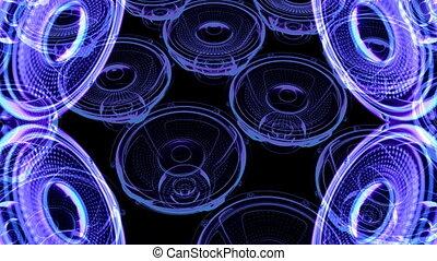 vj, musikalisches, bewegung, filmmeter, -, neon, speakers.,...