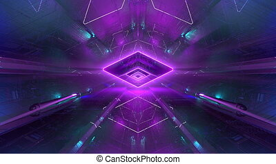 VJ Neon Energy Tunnel - Seamlessly looping 3D animation for...