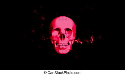 VJ style horror skull in red abstract looping animated background