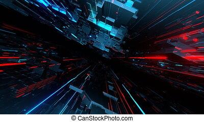 VJ Techno Space - 4K seamlessly looping VJ animation of...