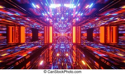 vj, tunnel, licorne, 3d, uhd, reflectorized, conception, rendre, vif, inspiré, 4k, boucle