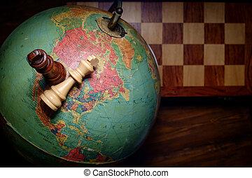 vládnout, koule, šachy