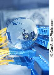 vlákno, kabel, servírovat, s, technika