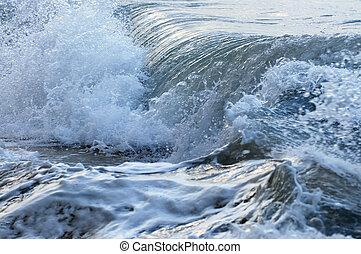 vlání, do, bouřlivý oceán