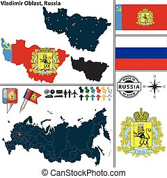 Vector map of Vladimir Oblast with coat of arms and location on Russian map