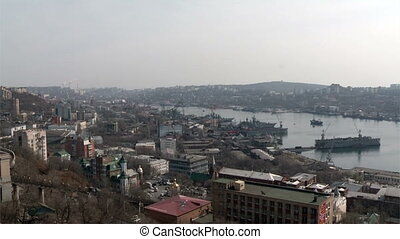 Vladivostok panorama of the bay and ships