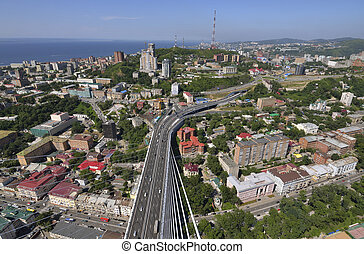 "Vladivostok, Primorski edge, New bridge through a bay the ""Gold horn"""