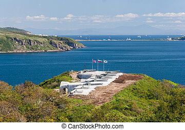 vladivostok, rusia, fortificaciones, artillería, proteger, militar, naval