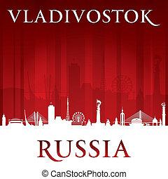 Vladivostok Russia city skyline silhouette red background -...