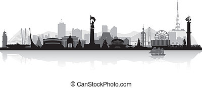Vladivostok Russia city skyline silhouette vector illustration