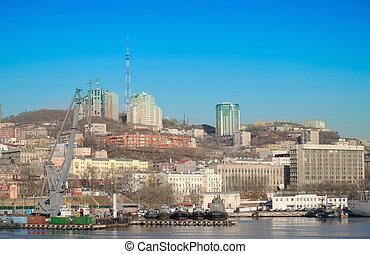 Vladivostok, kind on marina from the sea