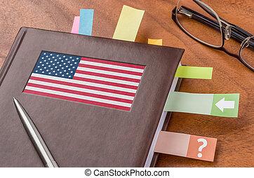 vlag, aantekenboekje, usa