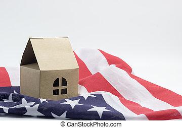 vlag, amerika, woning, modellen