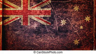 vlag, australië, grunge, vieze