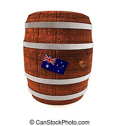 vlag, australië, vat, wijntje