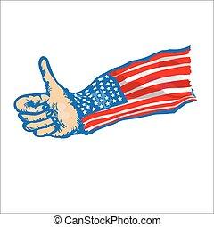 vlag, duimen, ons, op