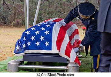 vlag, gedrapeerd, doodskistje