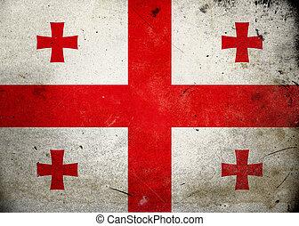 vlag, georgië, grunge